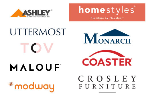 Logos of Ashley Furniture, Modway, TOV, and ED by Ellen Degeneres
