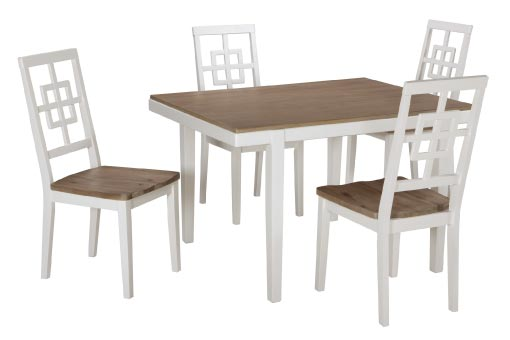 Two-tone dining set with white base and natural wood table & seat tops