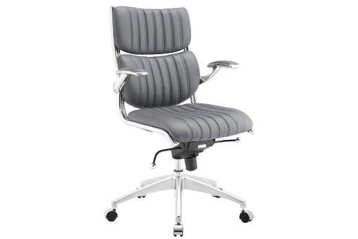 Grey office chair with chrome base