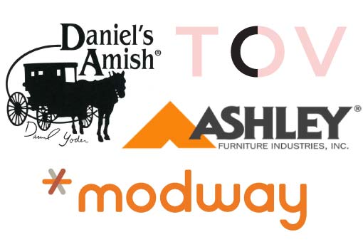 Logos of Daniel's Amish, TOV Furniture, Ashley Furniture, and Modway