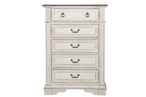 Distressed white tallboy chest of 5 drawers