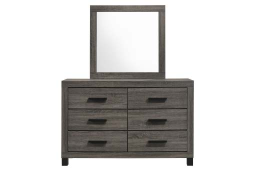 Dark grey contemporary dresser with straight black handles and matching mirror