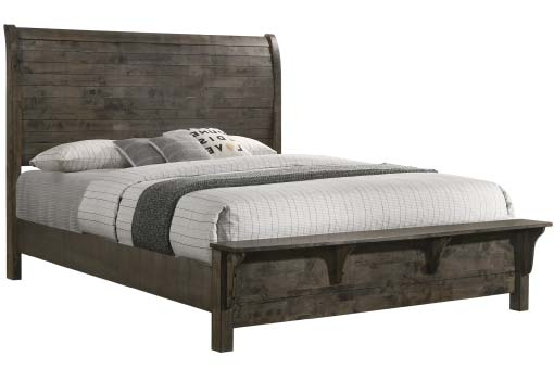 Large king size grey wood bed with shelf footboard