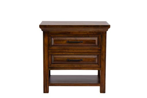 Warm brown wood nightstand with 2-drawers and bottom shelf