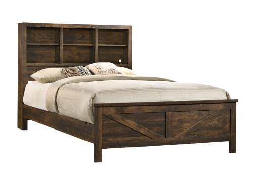 Dark brown rustic farmhouse inspired bed with bookcase headboard