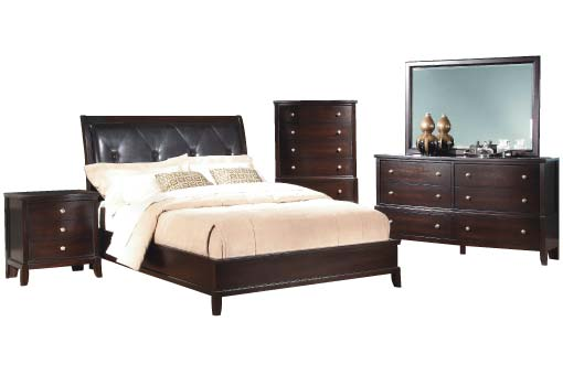 Dark wood bedroom set with black tufted vinyl headboard