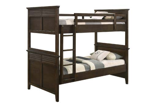 Dark brown wood bunk bed with louvered details on footboards