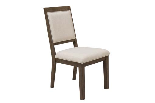 Dark wood chair with beige upholstery on seat and back