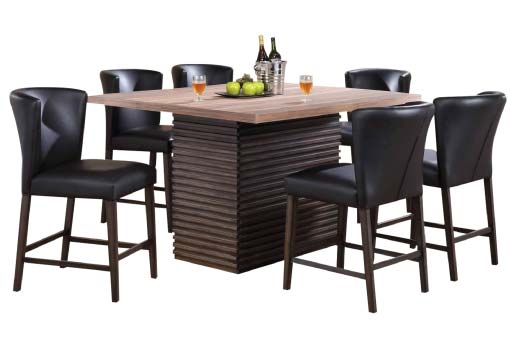 Fleming pub height table with wood-ridge base and leather stools