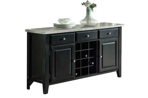 Black wood server with built-in wine rack and light-colored marble top