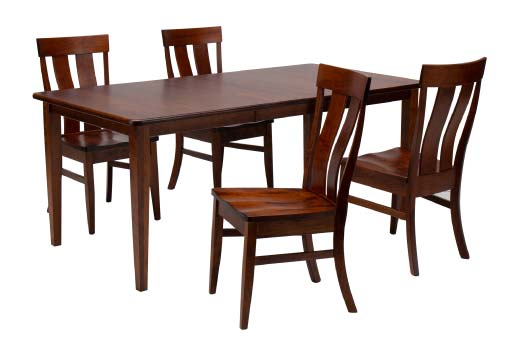 Amish made solid wood dining table in a rich cherry finish