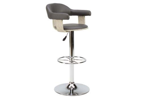 Contemporary bar stool with back and arms in grey leather upholstery on chrome actuator base