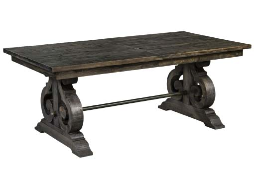 Bellpine dark grey-finish wood table with lyre-shaped pedestals