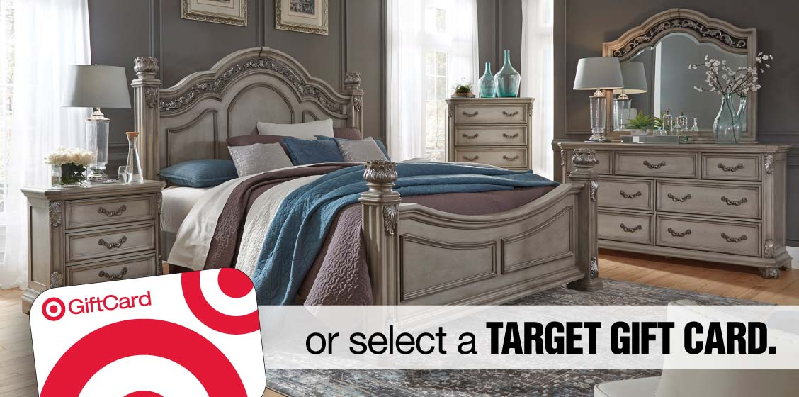 Ornate bedroom set in grey with the image of a Target Gift Card inset and the words 'or select a TARGET GIFT CARD'