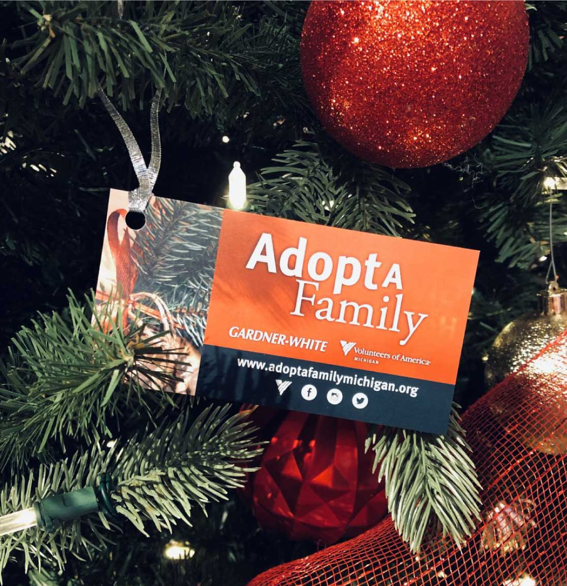 Adopt-A-Family tag on a Christmas tree