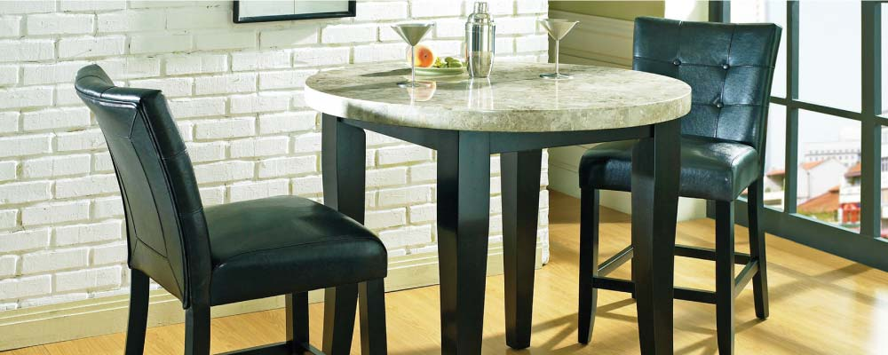 Beige Round Marble Pub Table with Black Leather-Looking Upholstered Chairs