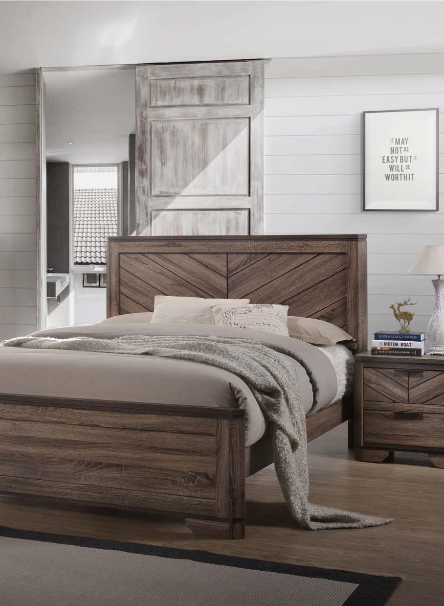 Bedroom with herringbone pattern in aged-wood-looking veneer