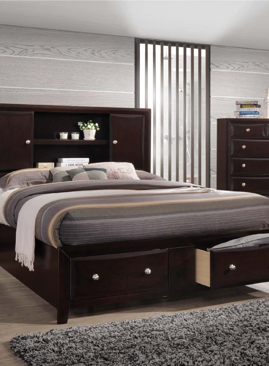 Dark finish storage bedroom set with bookcase headboard and storage drawers underneath