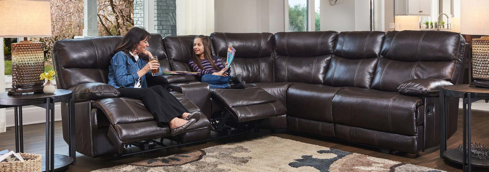 Dark brown top grain leather sectional