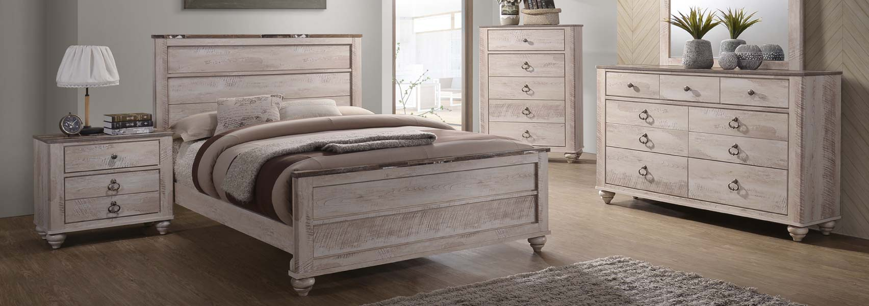 Antiqued, white wash rustic look queen bed