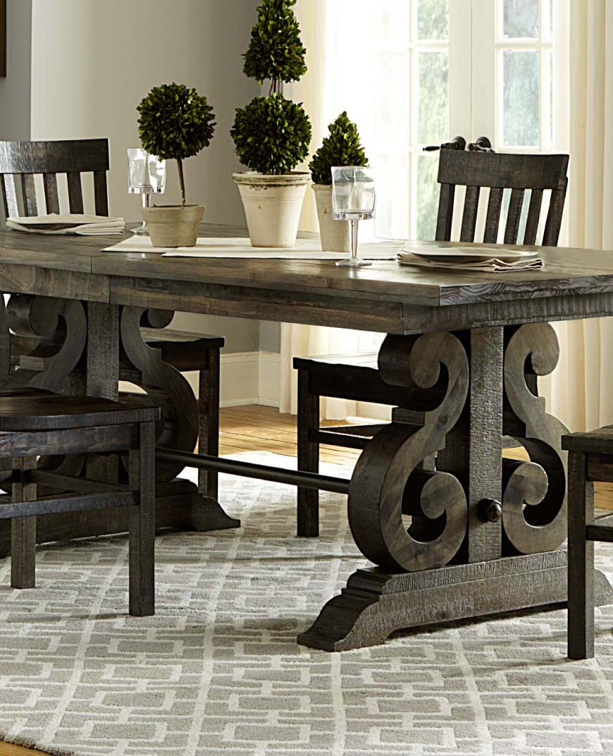 Modern farmhouse style dining set with dark wood finish