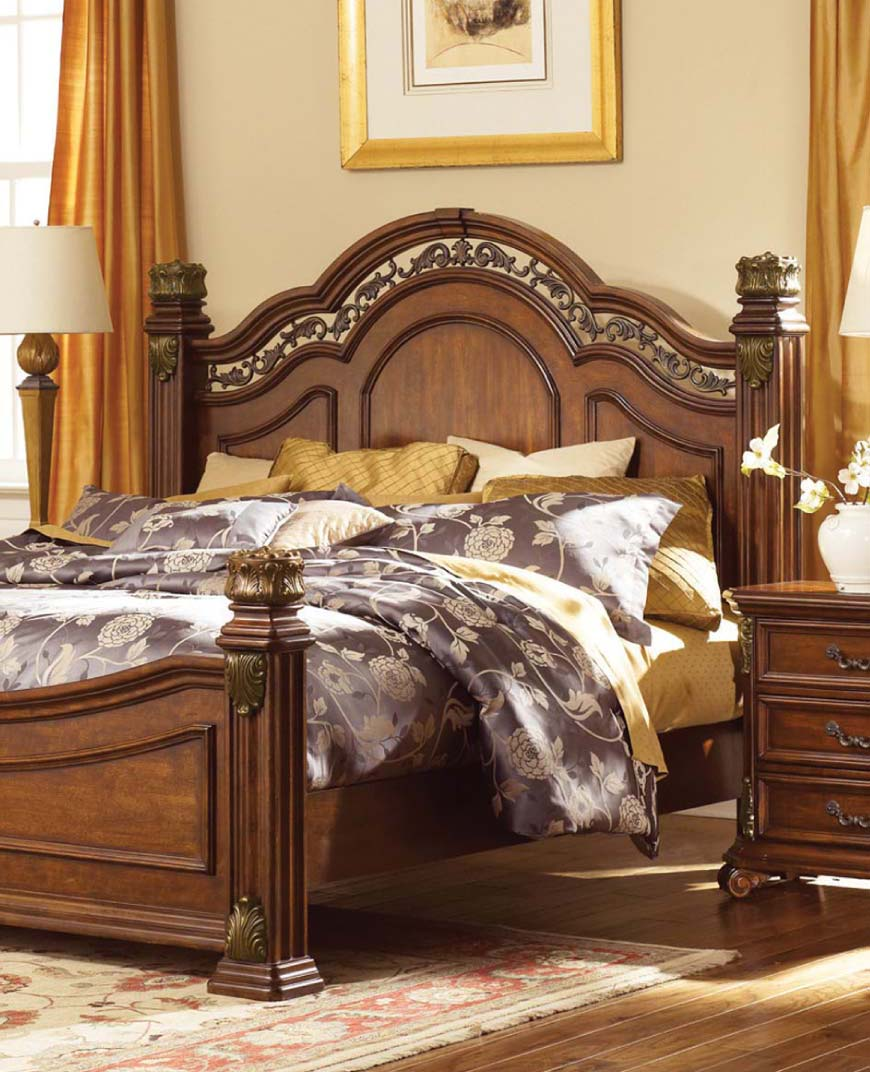 Ornate European style bedroom in warm wood finish