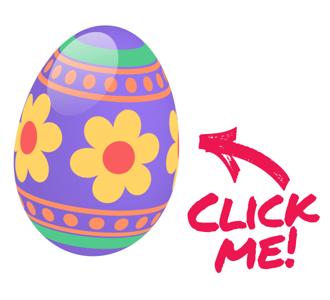 Decorated Easter Egg with Bunnies on it and an arrow pointing to it that says Click Me!