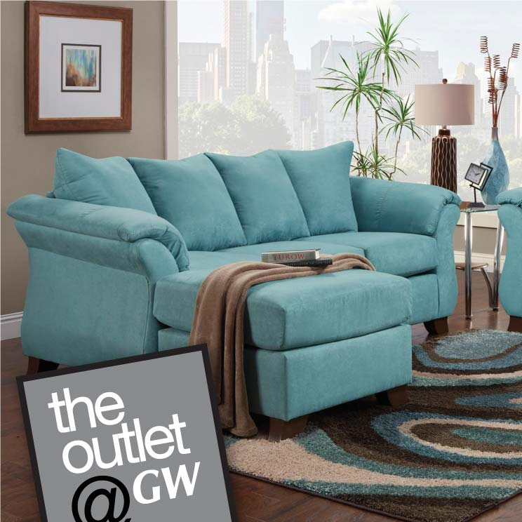 Teal sofa with moveable chaise, also known as a chofa