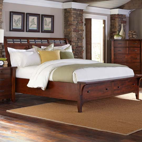 Solid wood storage bed