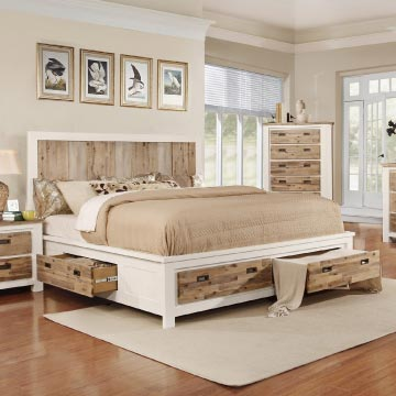 Two-tone storage bed in white and natual wood accents