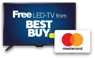 LED-TV with Best Buy logo on it's screen and a white Mastercard Reward Card