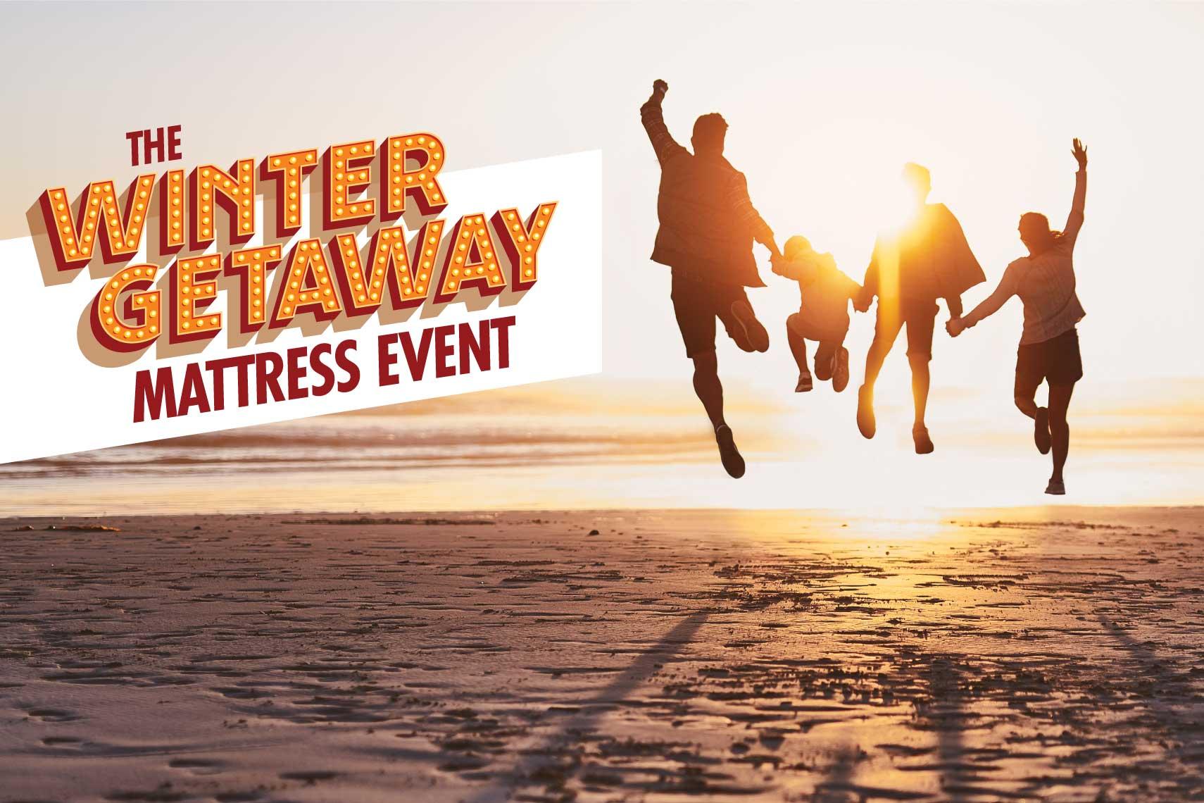 The Winter Getaway Mattress Event - Family on a beach