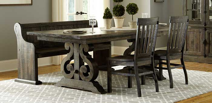 Dark grey dining room set wtih side chairs and pew-style bench