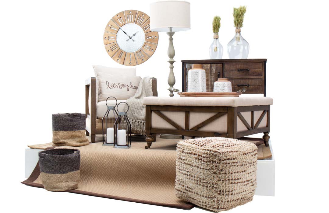 Collection of home decor accessories in a modern farmhouse aesthetic