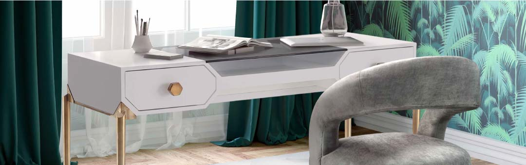 Contemporary home office desk in gloss white and brass legs and drawer handles