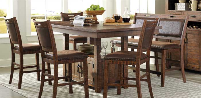Ariizona Collection: Brown wood dining room set with rustic farmhouse finish and storage at the base of the table