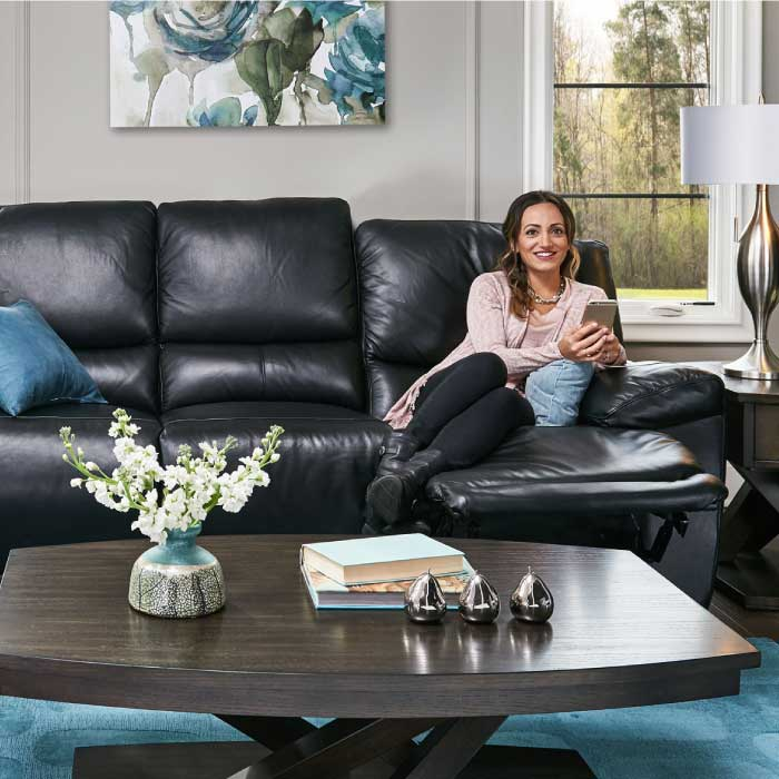 Bermuda black leather reclining sofa collection