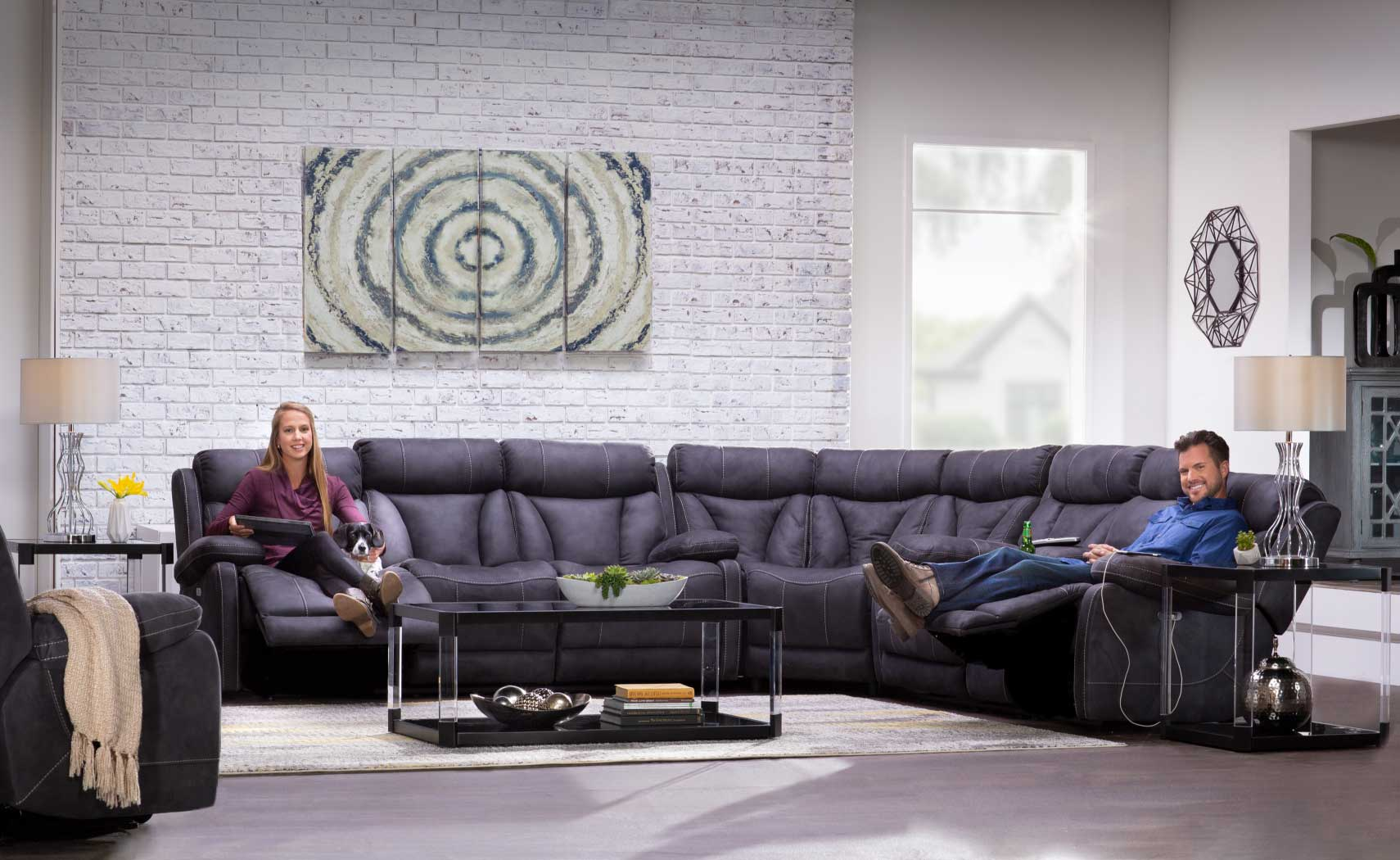 Borwich collection: dark grey reclining furniture