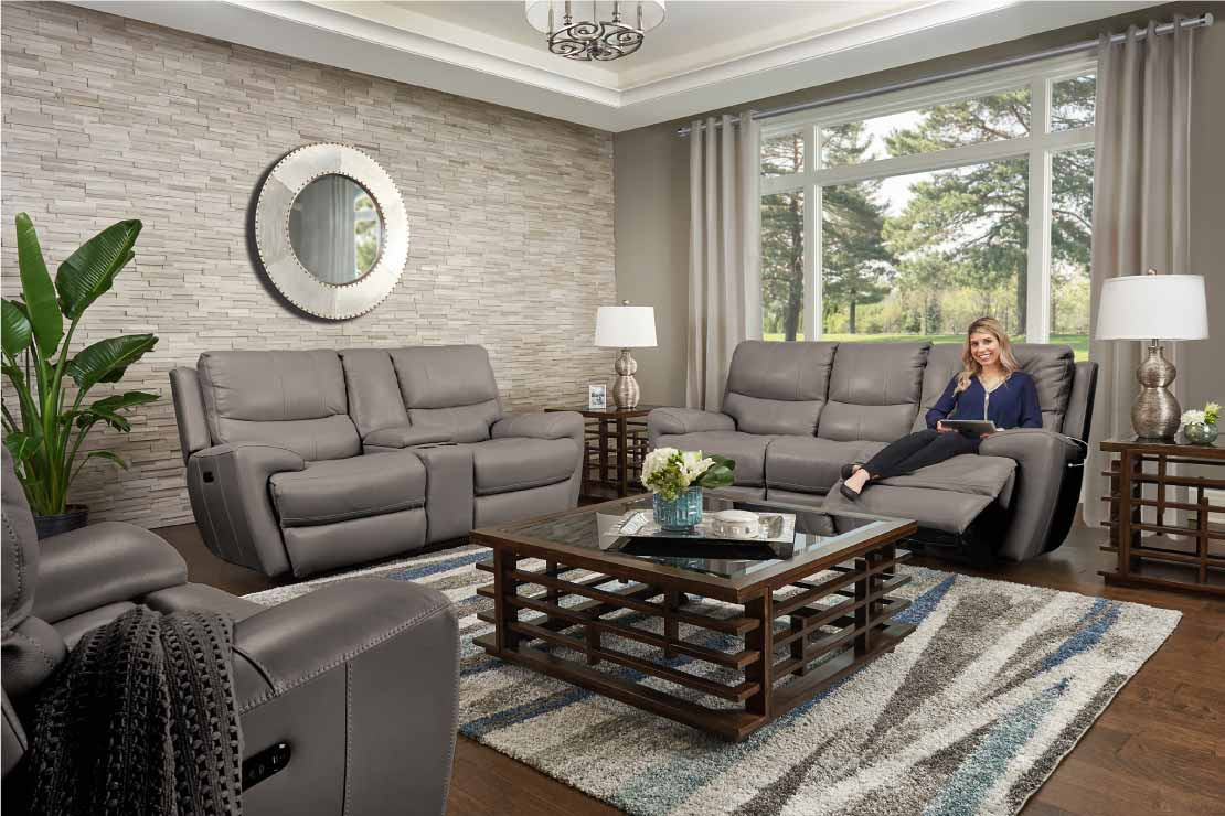 Greystone contemporary grey leather power reclining living room