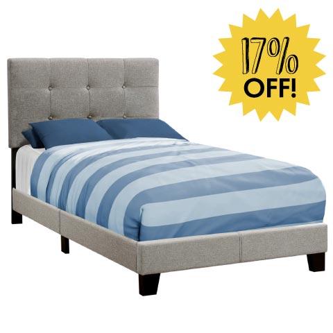 Grey Upholstered Bed 17% Off