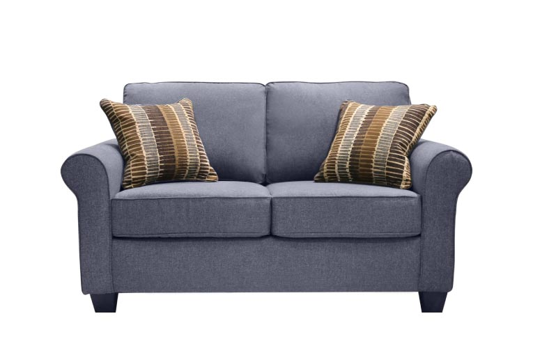 Warm brown chenille loveseat with t-cushions and accent pillows