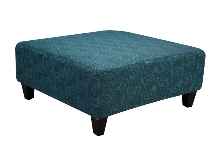 Teal large ottomon with optical illusion pattern and black tapered block legs