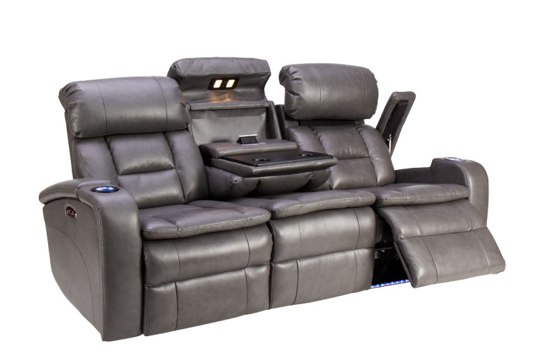 Dark grey reclining sofa with cupholders, drop-down table, and built-in lights