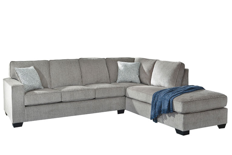 Light grey contemporary sectional with block arms and chaise on right facing side