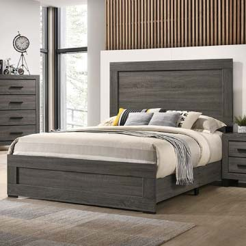 Ethan bedroom set with raw wood pattern printed on the surface