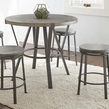 Industrial-inspired round pub height dining table with round stools